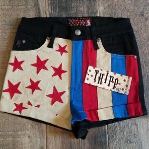 NWT Tripp NYC Flag Shorts Size 25/1 Skinny Fit